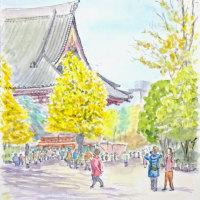 快晴の浅草寺で日向ぼっこのスケッチです