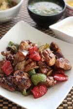 鶏肉と彩り野菜の黒酢炒め