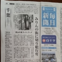 今朝の毎日新聞に「みりんの街に切り絵行灯」流山の夜ライトアップという記事が