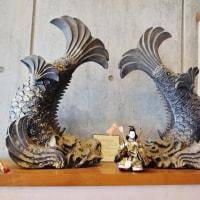 今治市菊間町のかわら館では、みきゃんも参加して、早くもひな祭りモードになっています (その2)