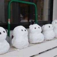 コーヒー屋さんの雪だるま。