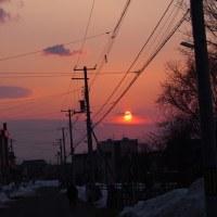 三月の夕日