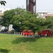 7月17日朝、消防車・化学車・救急車・パトカーが