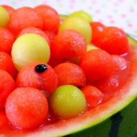 Watermelon & melon balls cake スイカとメロンのケーキ