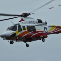 鳥取県 防災ヘリコプターが飛来 。