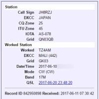 近着QSL(LoTW) TZ4AM 17m/CW