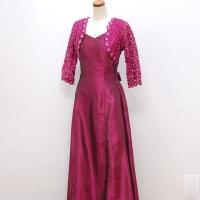 ロングドレス239 結婚式や演奏会の袖付きロングドレス エレガントな光沢のパーティードレス フレアー レースの袖あり M L