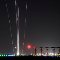 離陸の航跡(光跡)