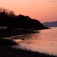 小樽銭函海岸  夕暮れ時の鉄道風景