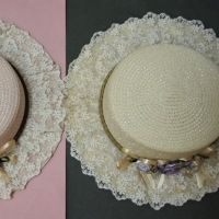 2915  (・´`(◆)   axes femme アクシーズファム 巻きバラレースカンカン帽
