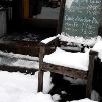 雪の駅前 お昼時