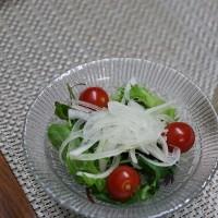 洋風献立 菜の花と生ハムのパスタ・トマト風味のスープ・グリーンサラダ