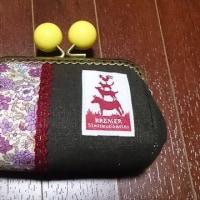 ガマグチ ~紫小花 焦げ茶~