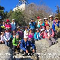 24 火山・丸山・大茶臼山(488・452・413m:安佐南区・西区)縦走登山  展望岩にて集合写真