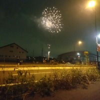 埼玉スタジアム近くで花火