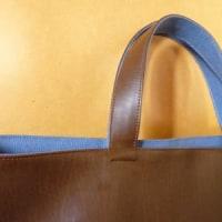 主人のランチバッグ(合皮×8号帆布)、完成しました