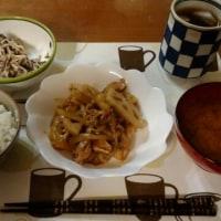 12月1日夕 豚肉とれんこんと玉ねぎのオイスターソース炒め