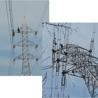 高圧線鉄塔で架線張替え工事中