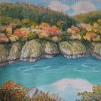 阿賀野川(阿賀川)渓谷の秋