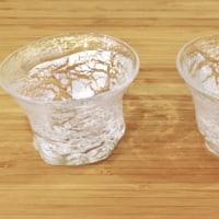 栗原瑠璃華さんの吹きガラス 青嵐中鉢と銀世界お猪口、水泡グラス