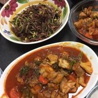 鶏肉ブロッコリートマトエノキ豆モヤシ豆苗桜えび炒め