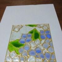 紫陽花のガラス絵