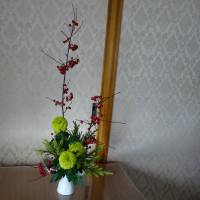 今日はお花の教室でした アロニア(バラ科) 玉菊(菊科) 目白杉(杉科)です