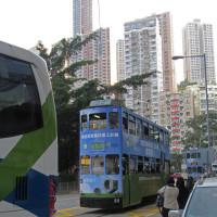 香港 2階建て路面電車乗車