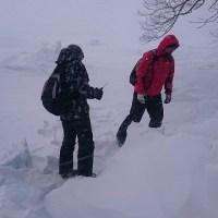 川湯中学校総合学習冬のポンポン山と屈斜路湖