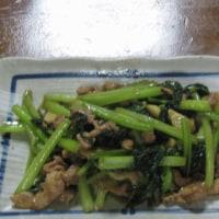 今日のホッピー  豚肉と小松菜のニンニク醤油炒め