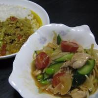 枝豆でカレーとサラダ