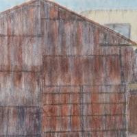 楽描き水彩画「再開発市街地で突然現れる『経年アート』=名古屋駅周辺で」