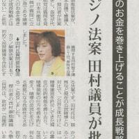 #akahata カジノ法案 共産党:田村議員が批判/人のお金をまきあげることが成長戦略か・・・今日の赤旗記事