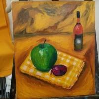 人生で二作目!油絵いと楽し。