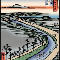 広重 名所江戸百景 四つ木通用水引ふね