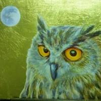 『フクロウの黄金夜』金箔&油彩画 ☆ 完成!
