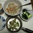 炊き込みご飯、ベビー帆立、アスパラ炒め、シラスの釜揚げ、胡瓜