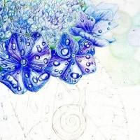 途中経過3 (紫陽花とカタツムリ)