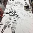 ボンドのオブジェをつくりながら、ホワイトマン君(183×93cm)描いてます。