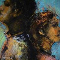 伊藤明美さんが描く「若者」が発する背と掌の暖かさ