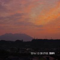 2016年12月08日、朝の桜島