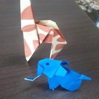 きりんと象(折り紙)