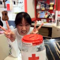 赤十字 ハワイ支部から寄付金ボックスをもらってきました。