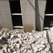 倉敷市茶屋町で倉庫スレート破損現場の調査