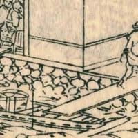 看板犬の白い犬@江戸名所図会「新川酒問屋」