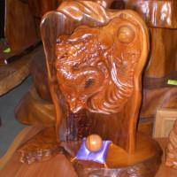 屋久杉 彫刻龍 ミニ衝立