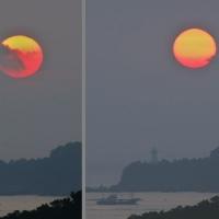 朝陽の前を遮る雲 (的矢日和山)