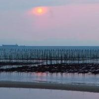 知多の奥田海岸の夕景撮影