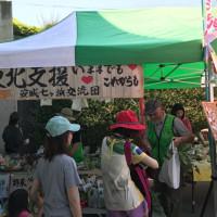 田んぼアートで野菜販売