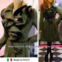 【イタリア製 RINASCIMENTO coat/リナシメント】たっぷりフレアえり&ウール混 切り替えAライン コート/モスグリーン